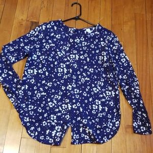 H&M blue floral long sleeve top